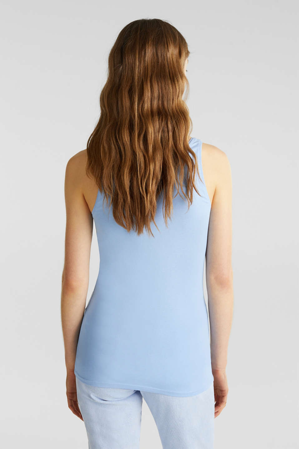 Basic top in stretch cotton, BLUE LAVENDER 4, detail image number 2
