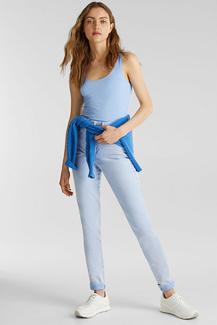 Basic top in stretch cotton, BLUE LAVENDER, detail image number 1