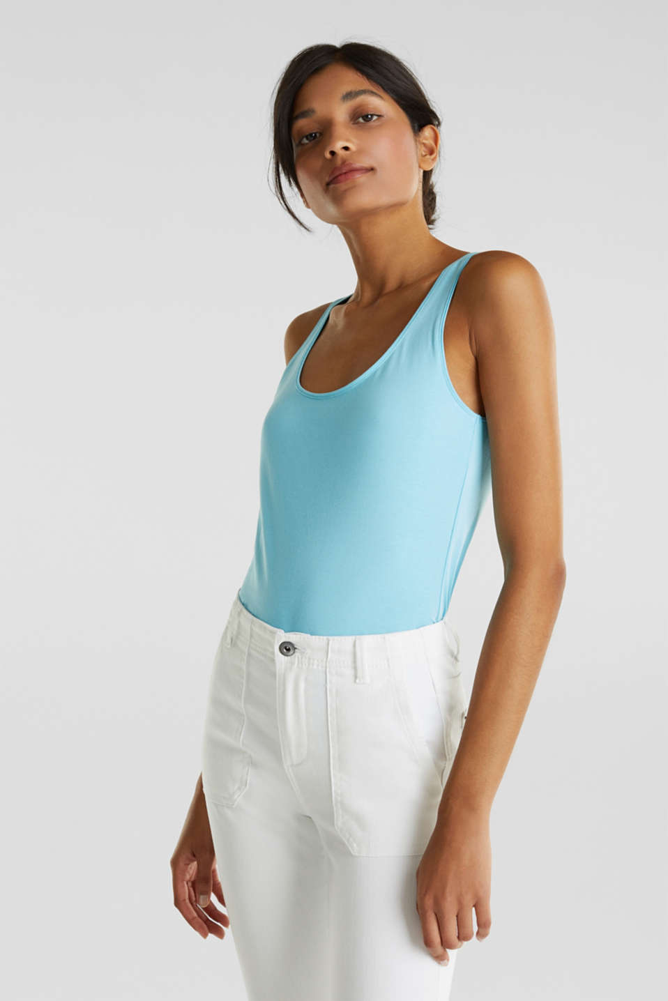edc - Top basique en coton stretch