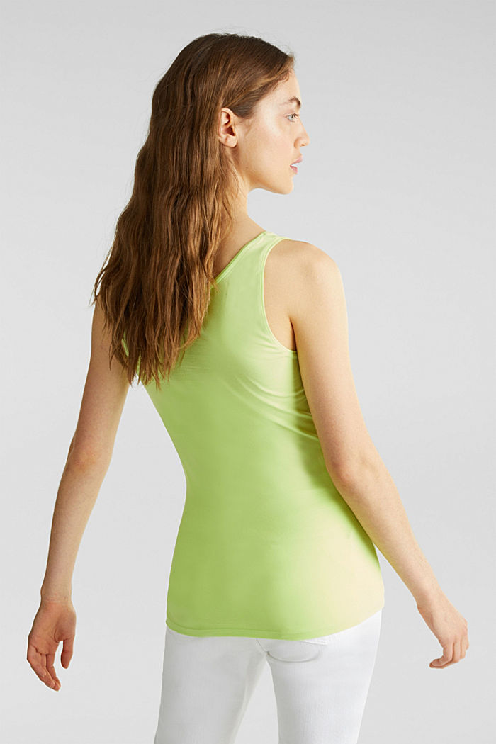 Basic top in stretch cotton, LIME YELLOW, detail image number 3