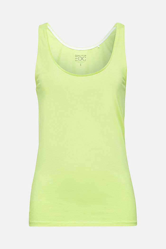 Basic top in stretch cotton, LIME YELLOW, detail image number 6