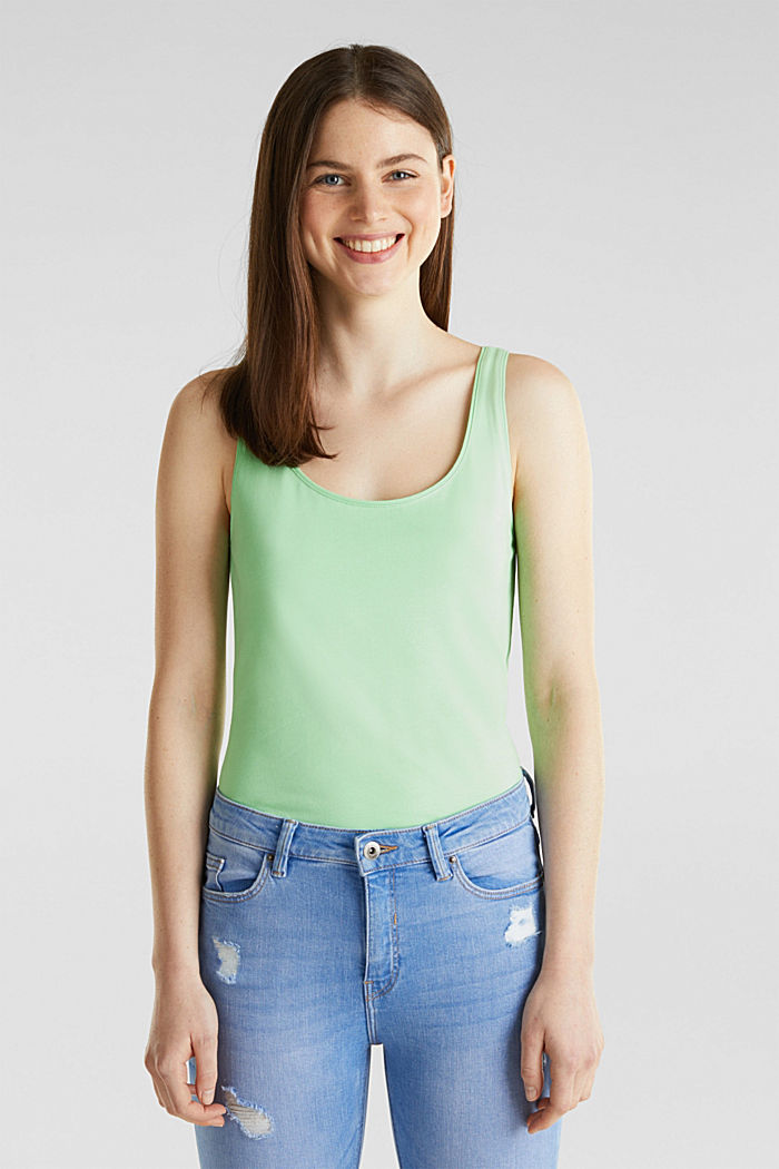 Long stretch cotton top, LIGHT GREEN, detail image number 0