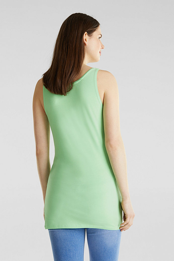 Long stretch cotton top, LIGHT GREEN, detail image number 2