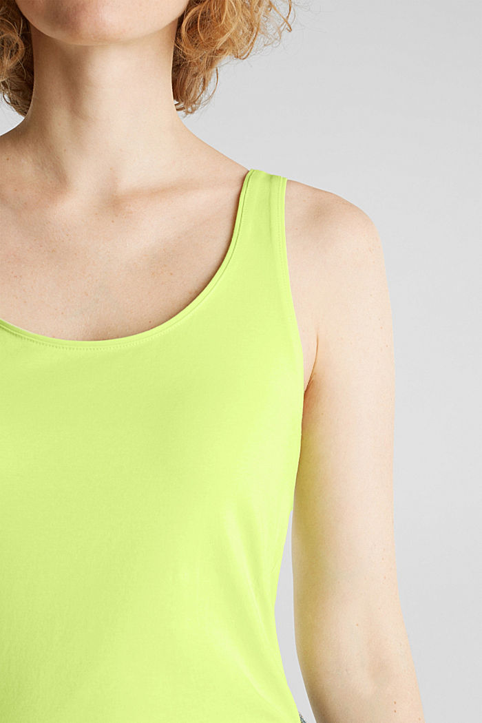 Long stretch cotton top, LIME YELLOW, detail image number 2