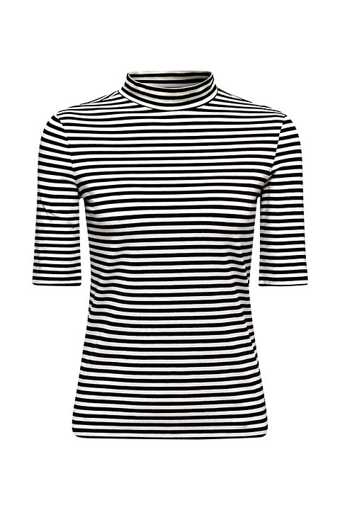 Striped stretch top with a band collar