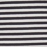 Striped stretch top with a band collar, BLACK, swatch