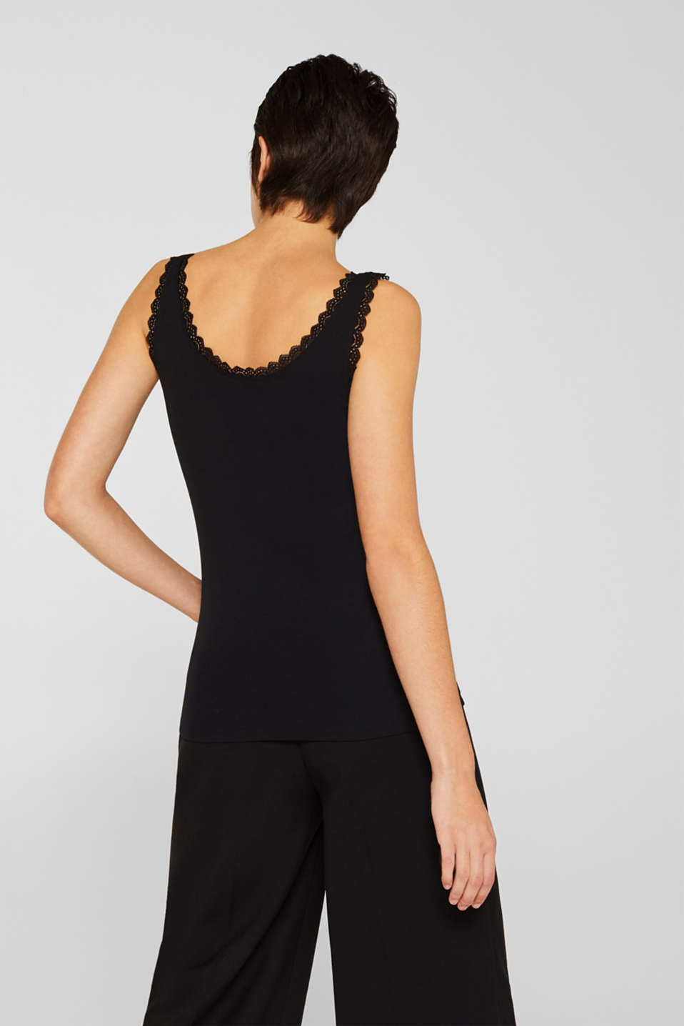 Feminine top with lace, 100% cotton, BLACK, detail image number 3