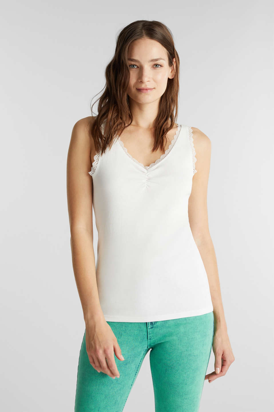 Lace top, 100% cotton, OFF WHITE, detail image number 0