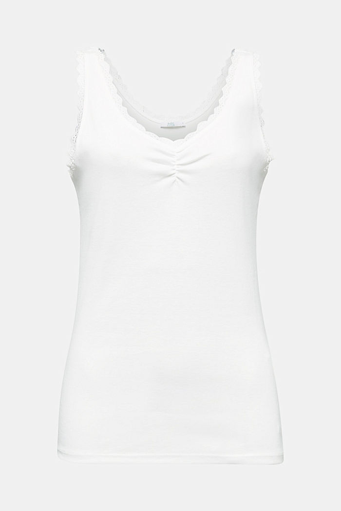 Lace top, 100% cotton, OFF WHITE, detail image number 6