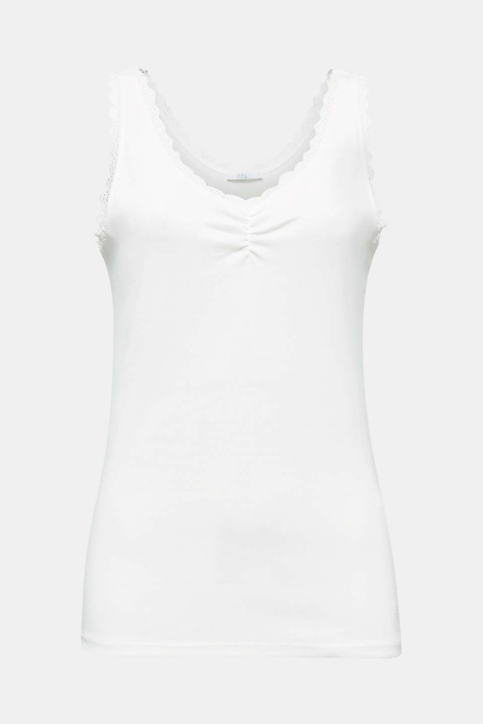 Feminine top with lace, 100% cotton, OFF WHITE, detail image number 5
