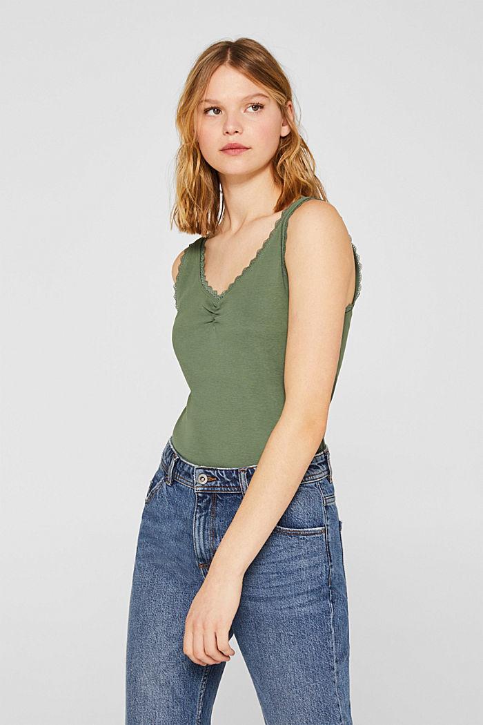 Lace top, 100% cotton, KHAKI GREEN, detail image number 0