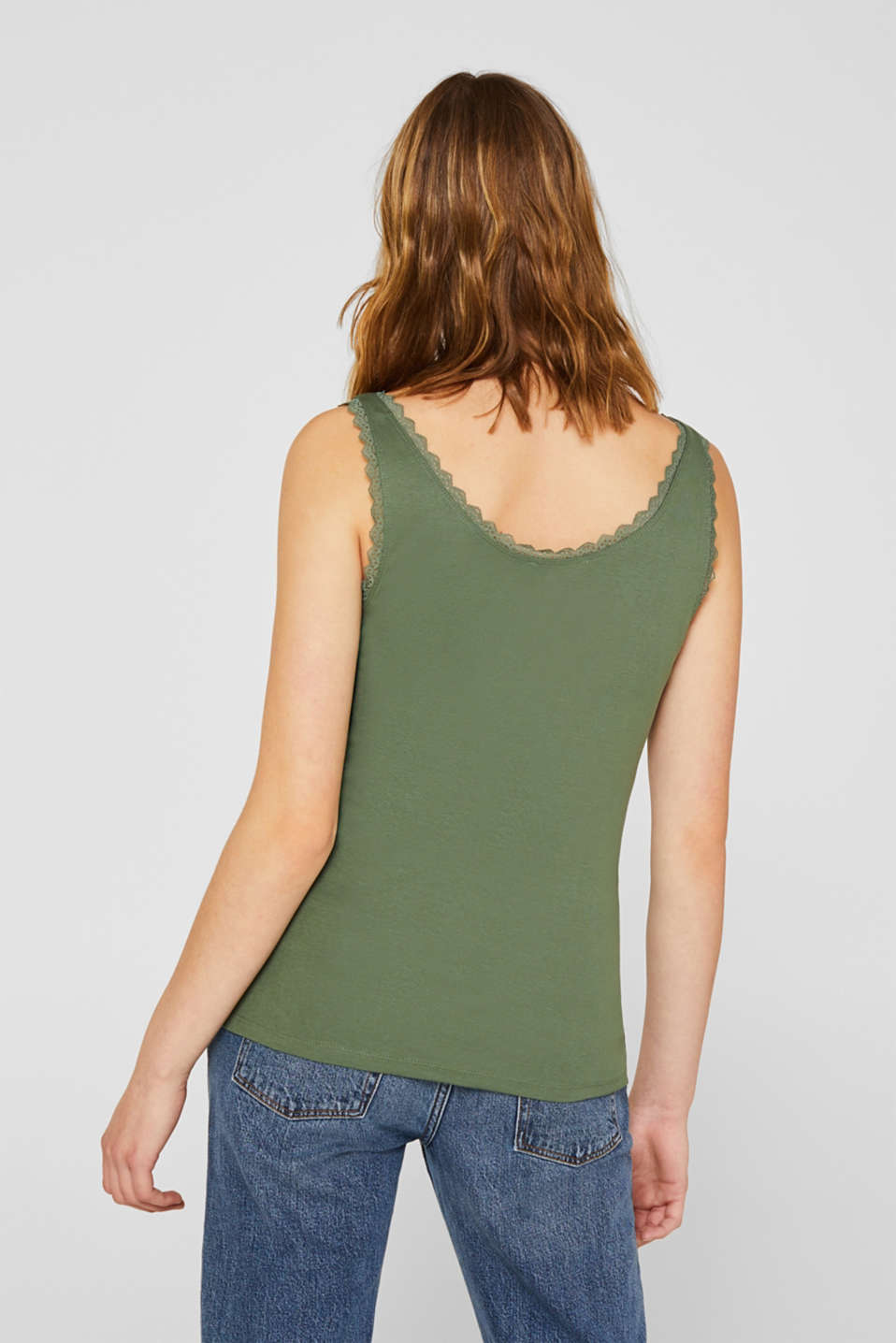 Feminine top with lace, 100% cotton, KHAKI GREEN 4, detail image number 3