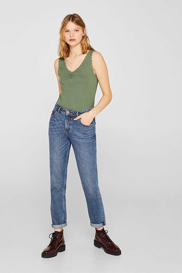 Lace top, 100% cotton, KHAKI GREEN, detail image number 5