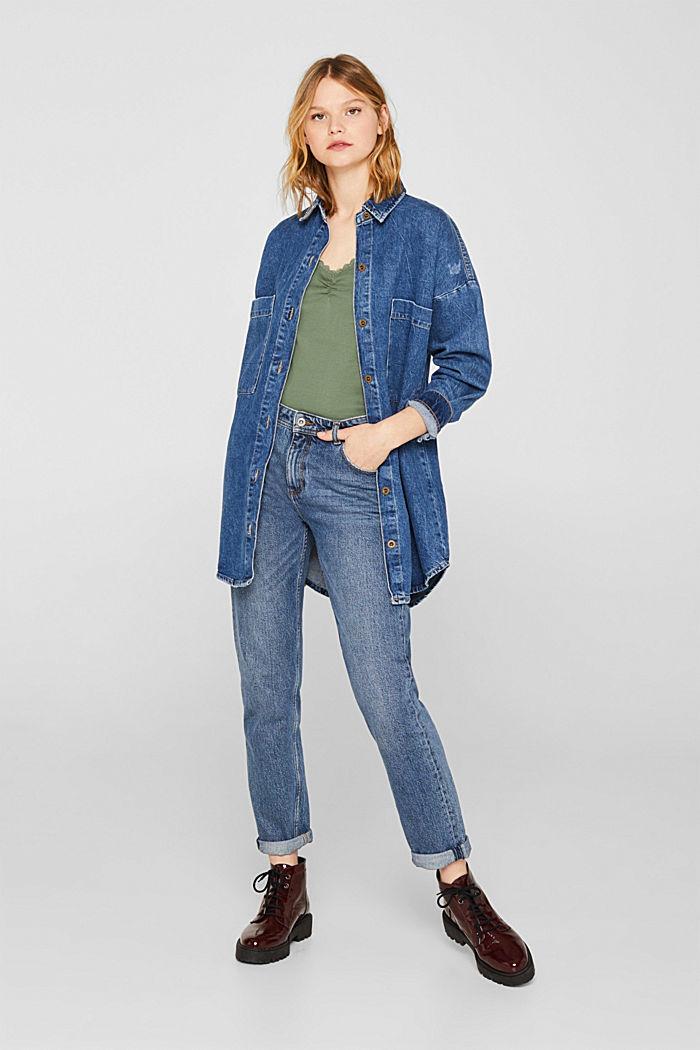 Lace top, 100% cotton, KHAKI GREEN, detail image number 1