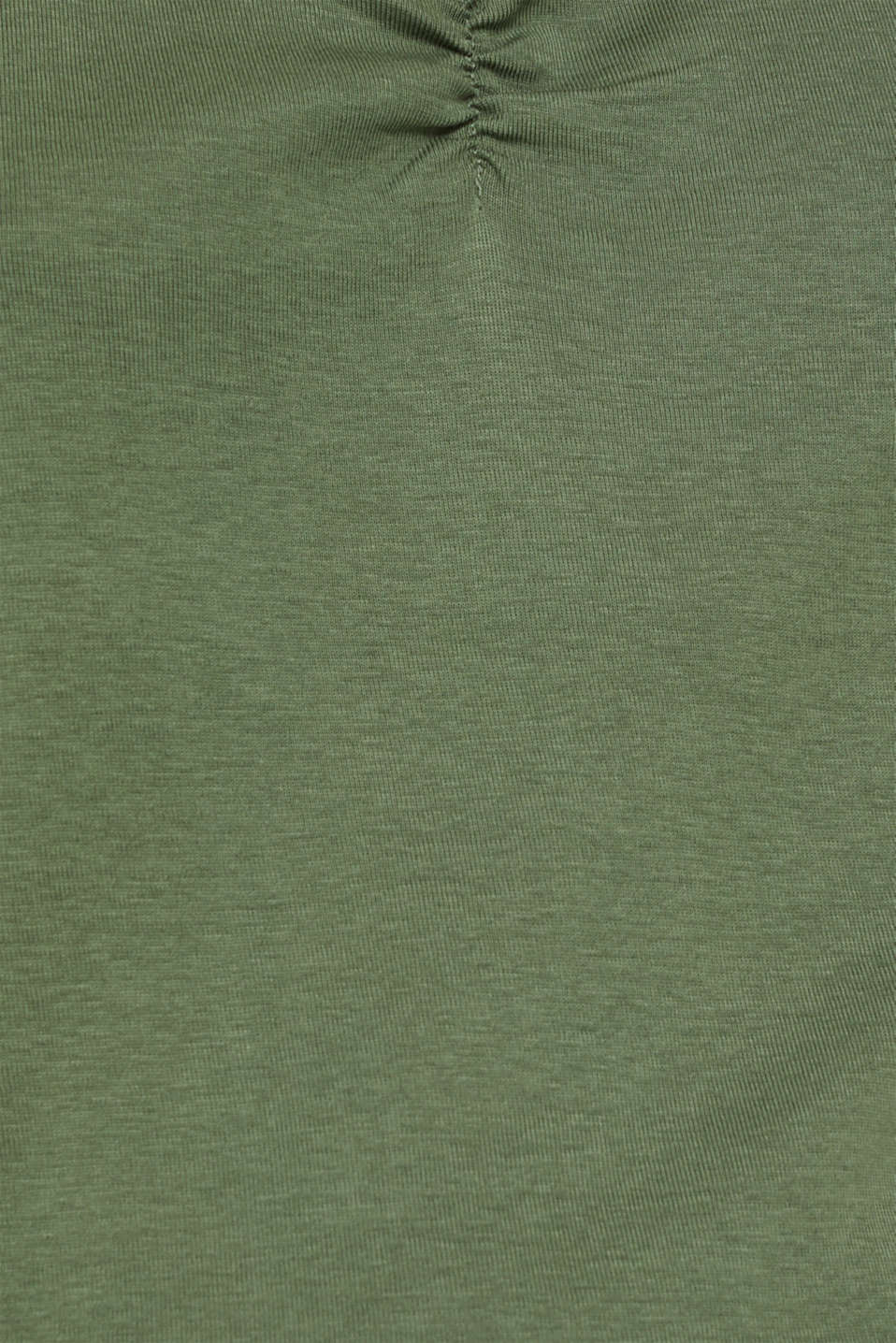 Feminine top with lace, 100% cotton, KHAKI GREEN 4, detail image number 4
