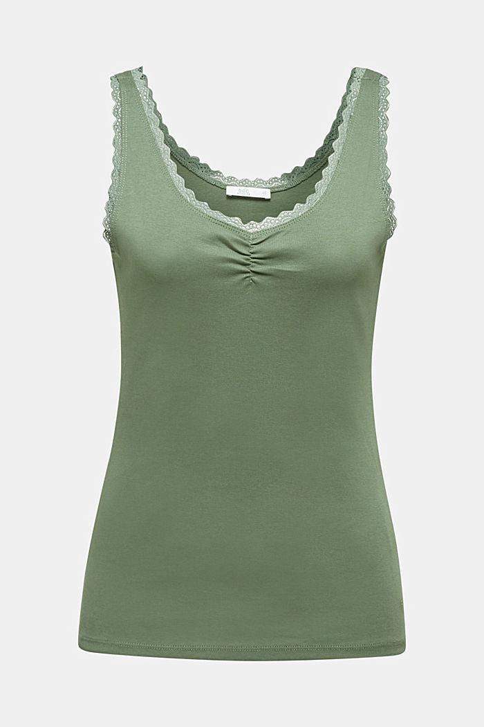 Lace top, 100% cotton, KHAKI GREEN, detail image number 6