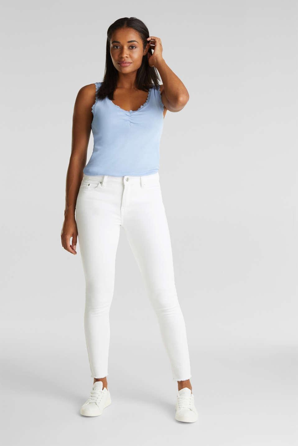 Lace top, 100% cotton, BLUE LAVENDER 4, detail image number 5