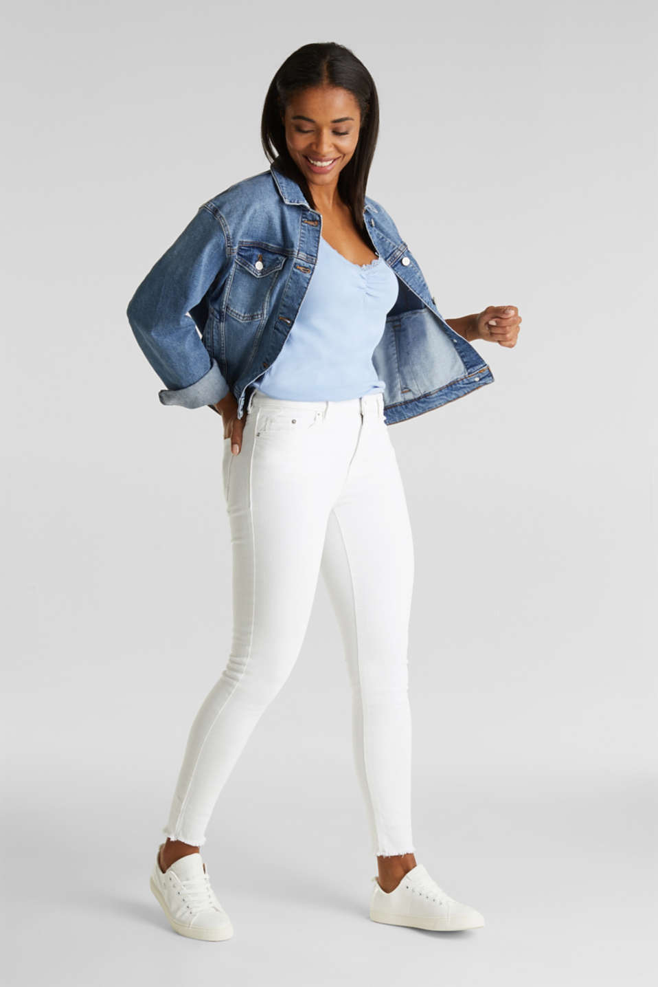 Lace top, 100% cotton, BLUE LAVENDER 4, detail image number 1