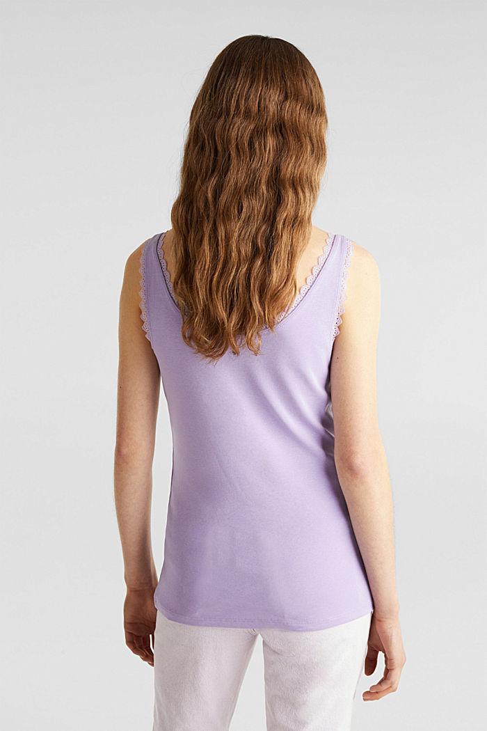 Lace top, 100% cotton, LILAC, detail image number 3