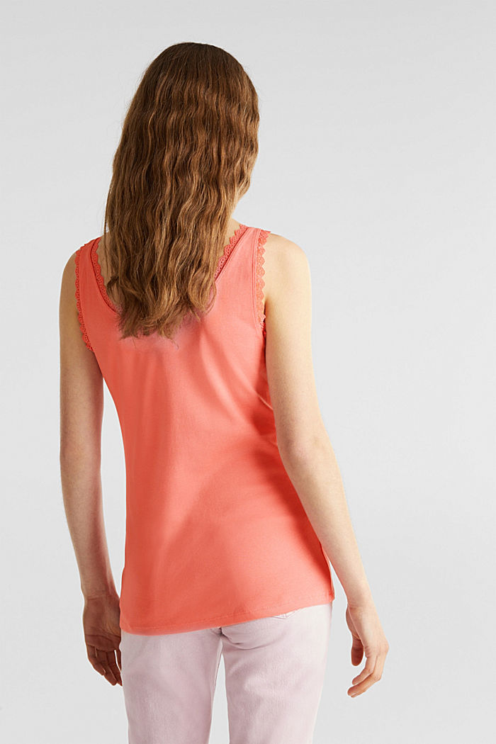 Lace top, 100% cotton, CORAL, detail image number 3