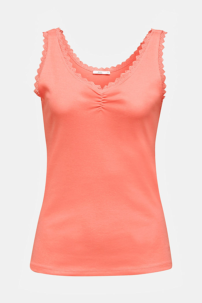 Lace top, 100% cotton, CORAL, detail image number 5
