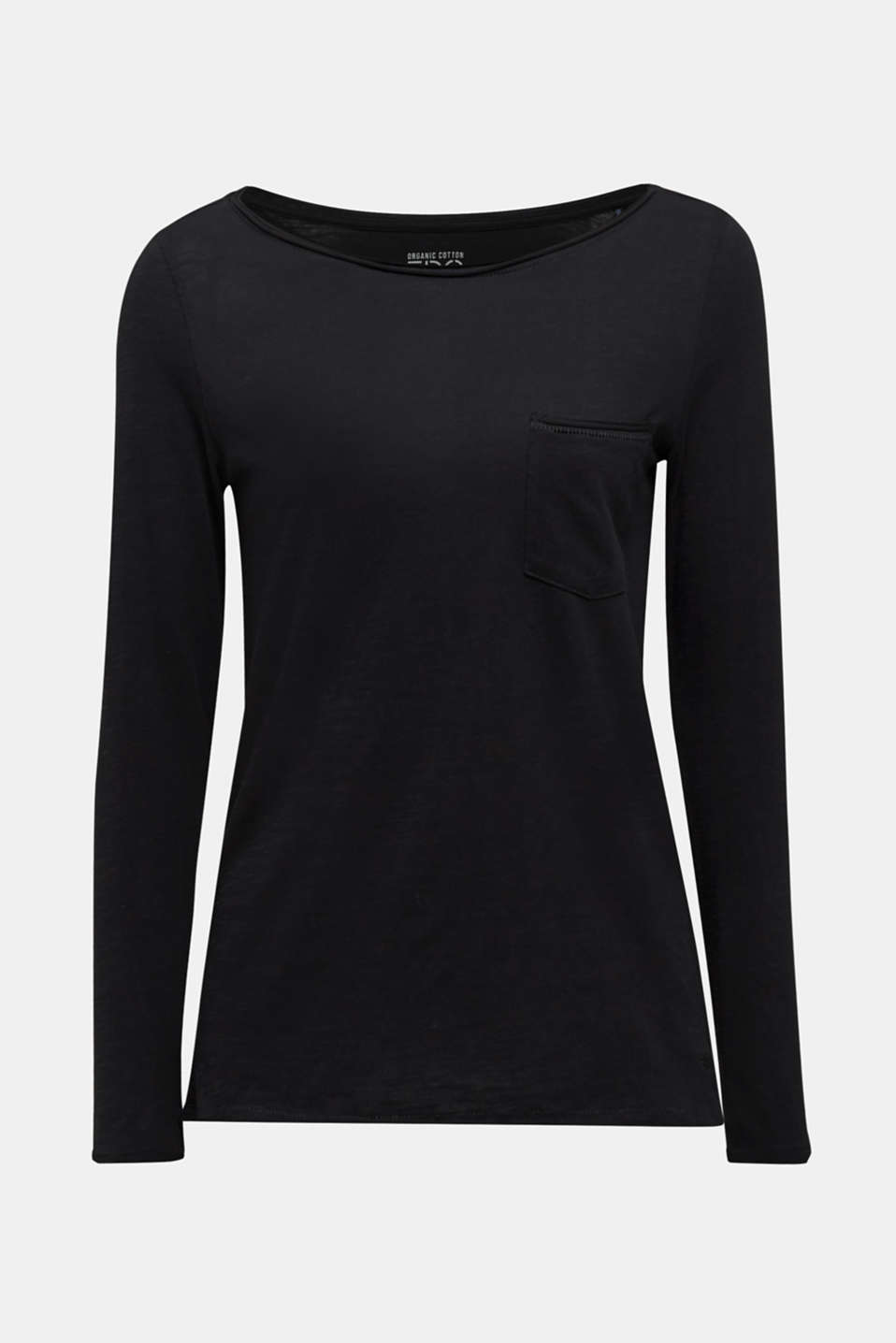 Long sleeve top with rolled edges, 100% cotton, BLACK, detail image number 6