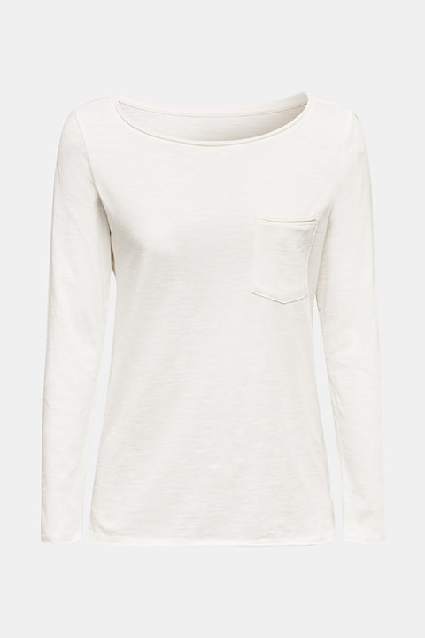 Long sleeve top with rolled edges, 100% cotton