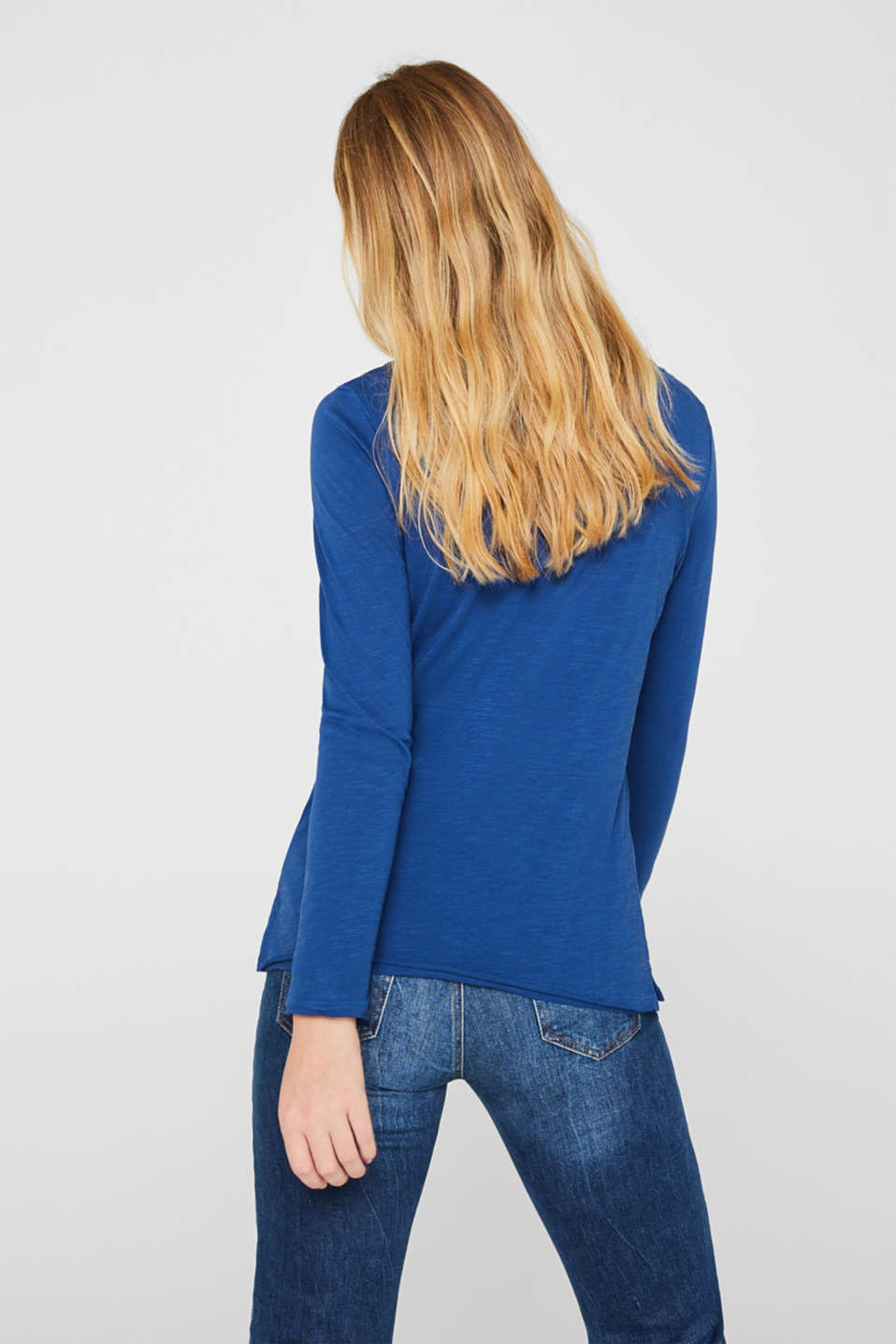 Long sleeve top with rolled edges, 100% cotton, DARK BLUE 4, detail image number 3
