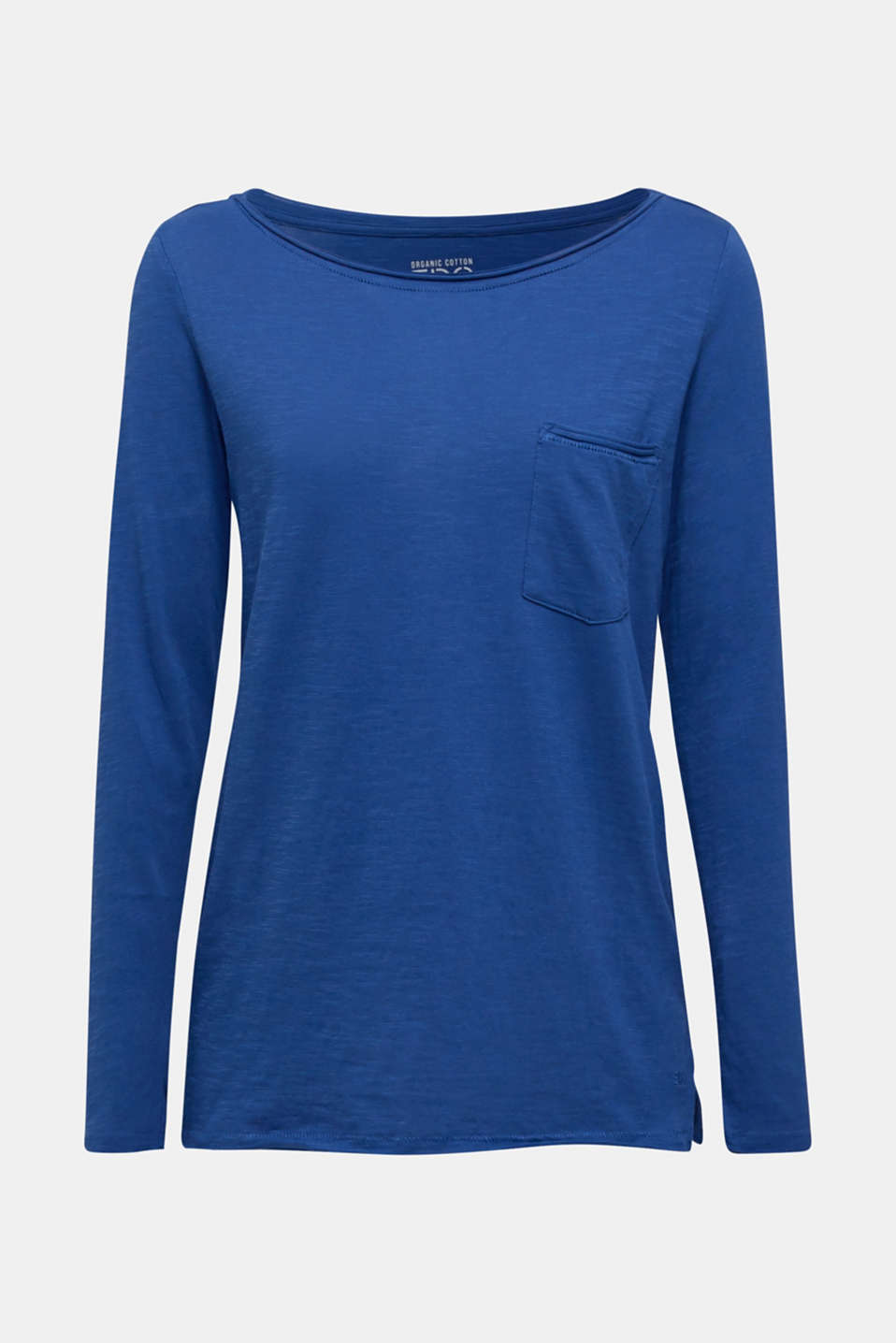 Long sleeve top with rolled edges, 100% cotton, DARK BLUE 4, detail image number 6