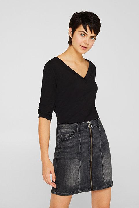Slub V-neck T-shirt, 100% cotton
