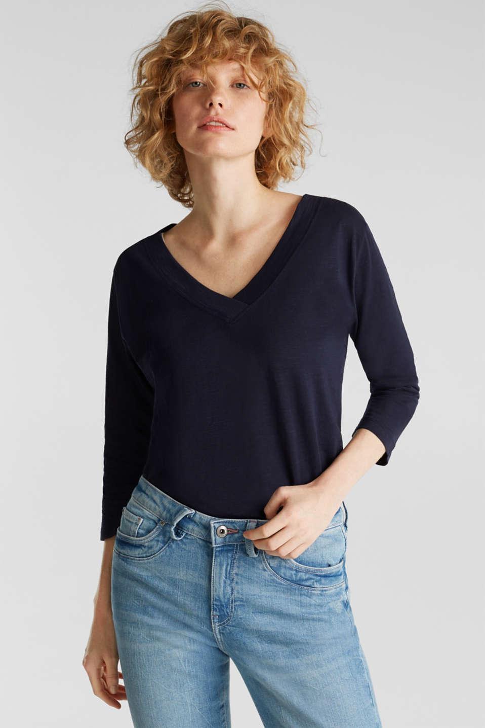 Slub V-neck T-shirt, 100% cotton, NAVY, detail image number 0