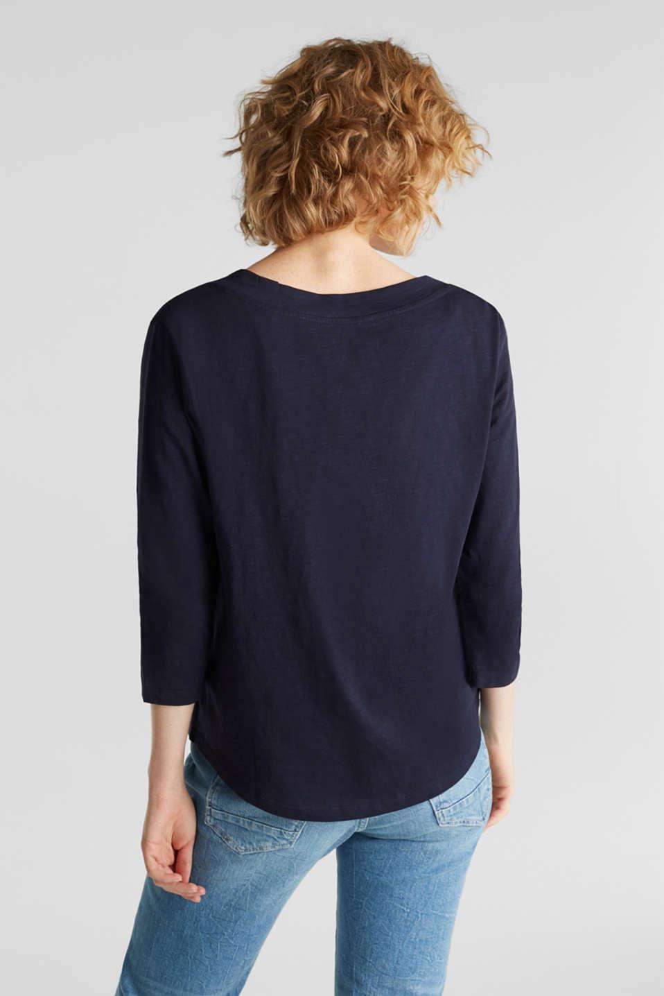 Slub V-neck T-shirt, 100% cotton, NAVY, detail image number 3