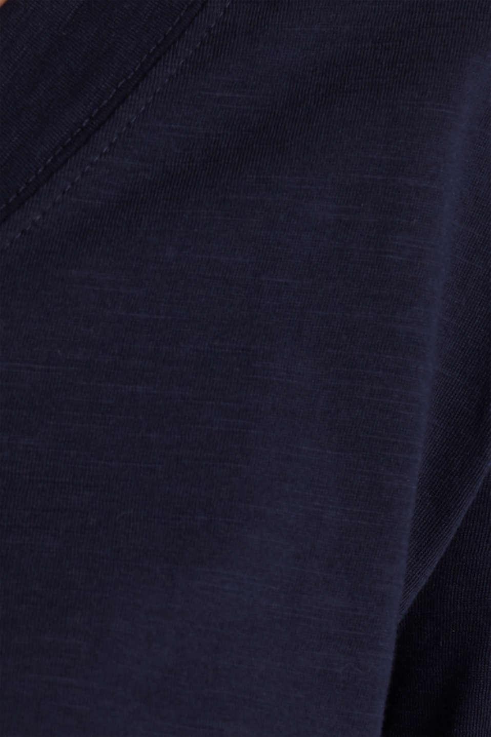 Slub V-neck T-shirt, 100% cotton, NAVY, detail image number 4