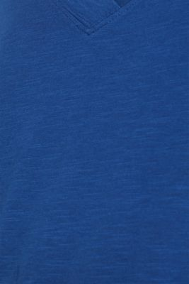 Slub V-neck T-shirt, 100% cotton, DARK BLUE 4, detail