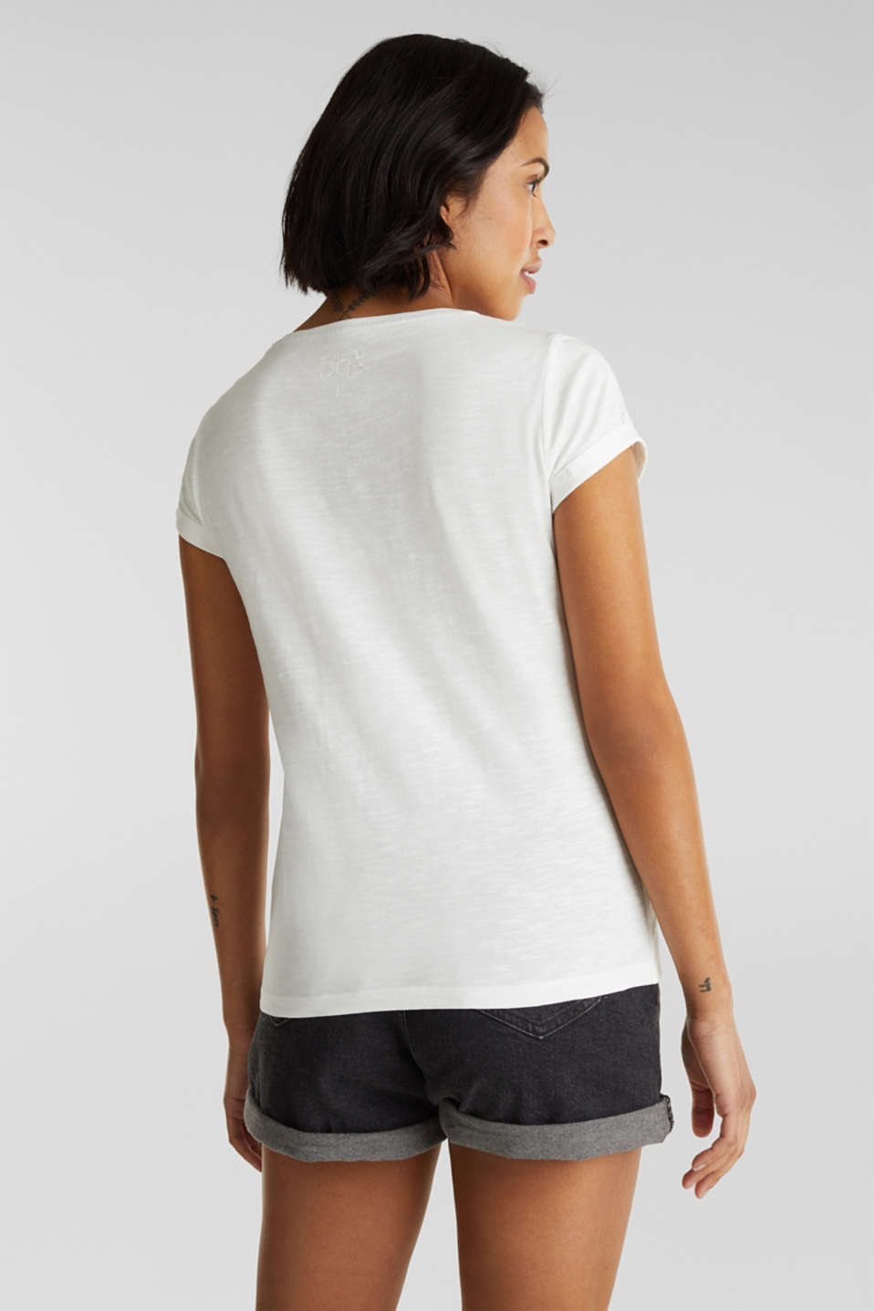Top with a slub texture, 100% cotton, OFF WHITE, detail image number 3