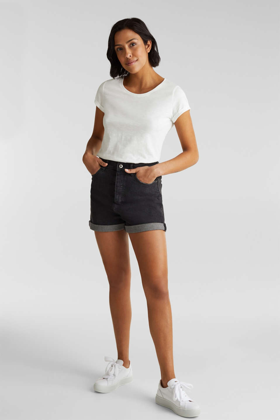 Top with a slub texture, 100% cotton, OFF WHITE, detail image number 1