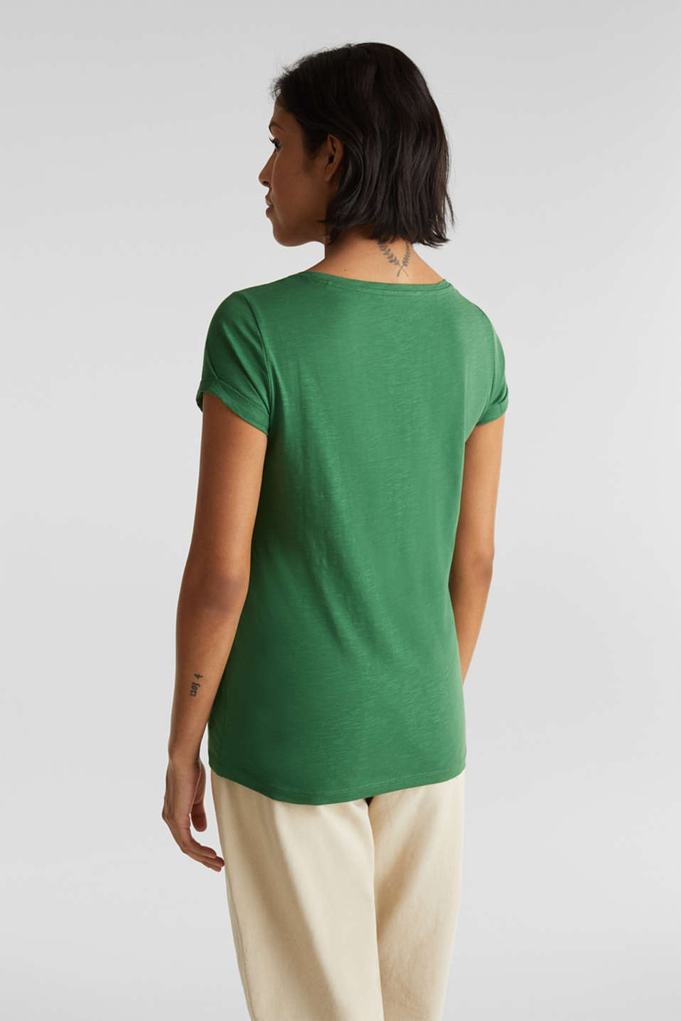 Slub top, 100% cotton, DARK GREEN 4, detail image number 3