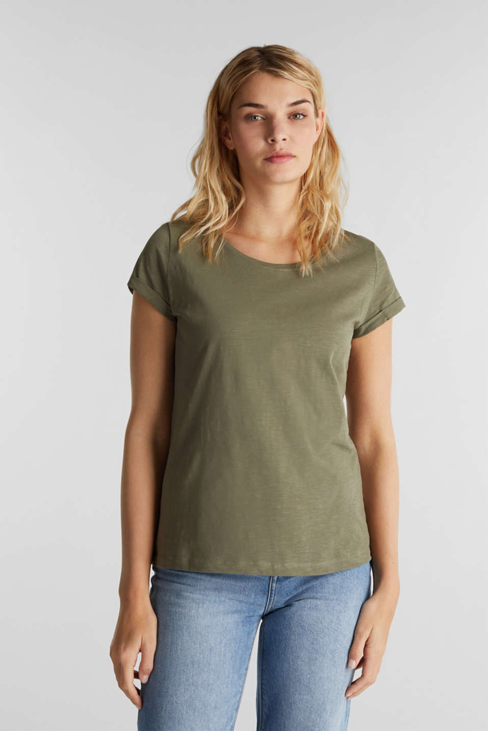 Slub top, 100% cotton, KHAKI GREEN 4, detail image number 0