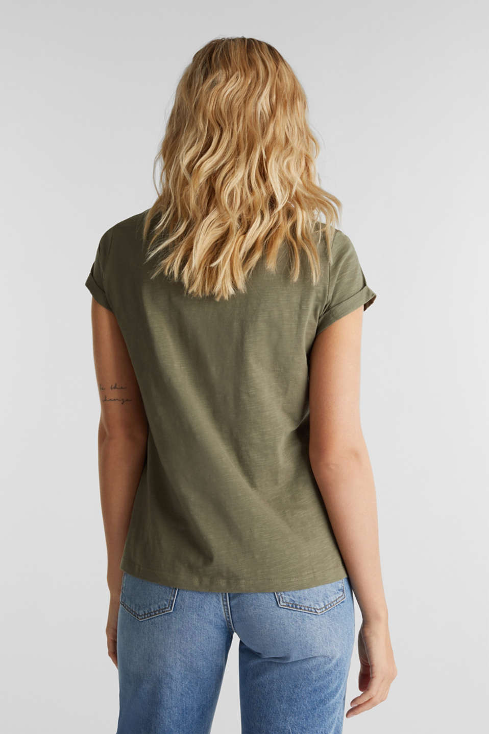 Slub top, 100% cotton, KHAKI GREEN 4, detail image number 2