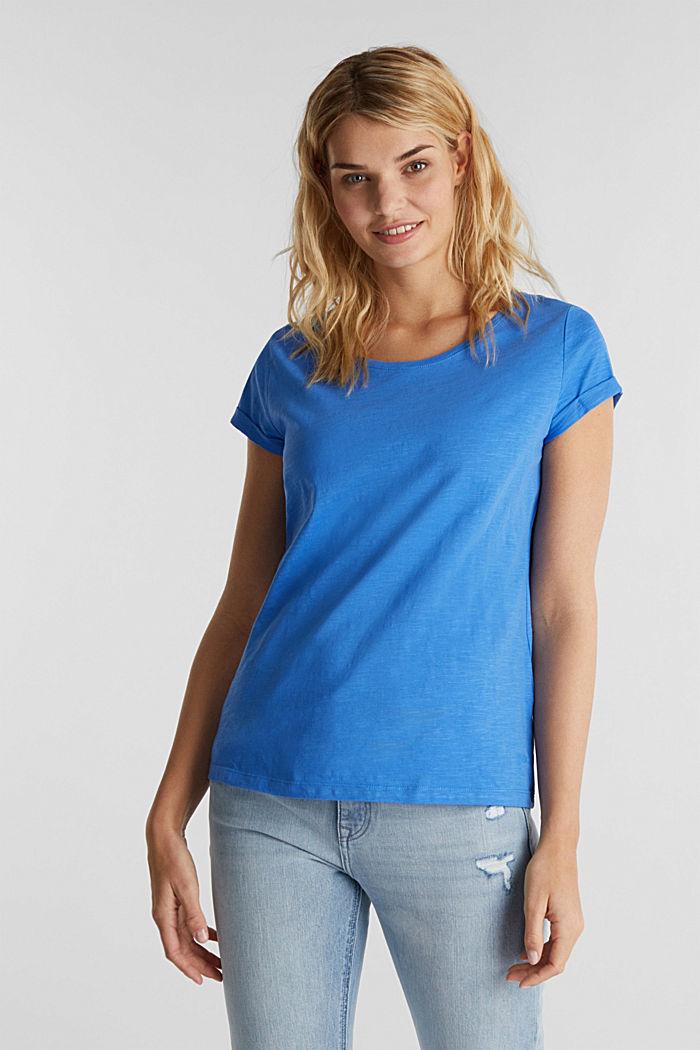 Shirt van slubgaren, 100% katoen, BRIGHT BLUE, detail image number 0
