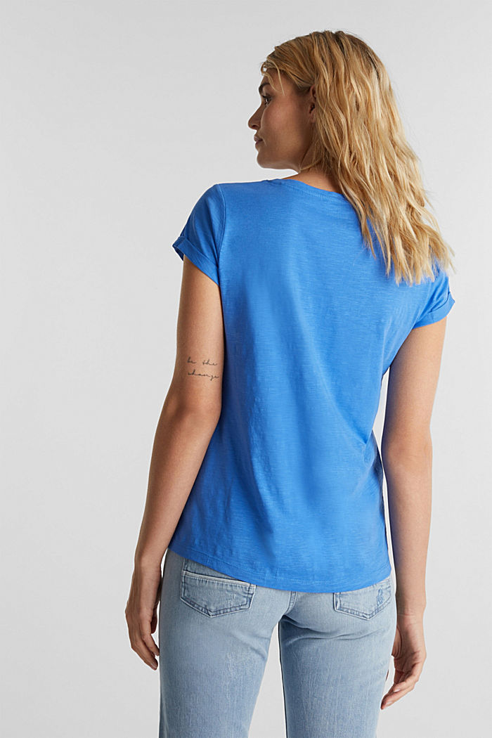 Shirt van slubgaren, 100% katoen, BRIGHT BLUE, detail image number 2