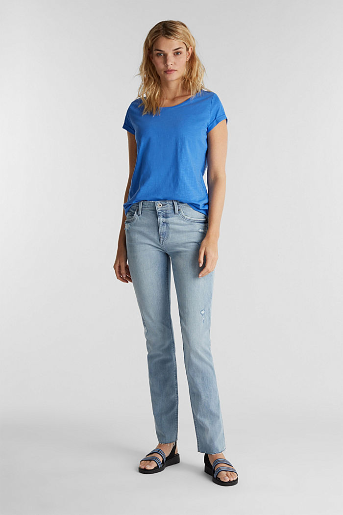 Shirt van slubgaren, 100% katoen, BRIGHT BLUE, detail image number 1