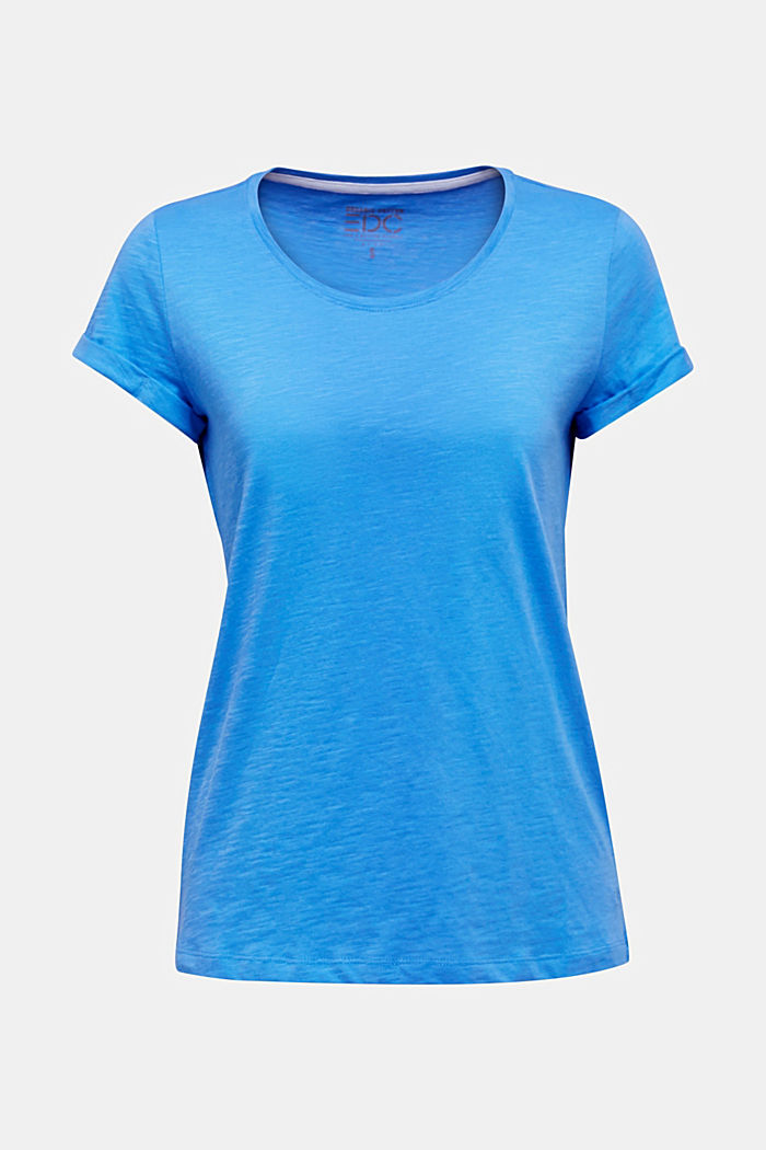 Shirt van slubgaren, 100% katoen, BRIGHT BLUE, detail image number 5