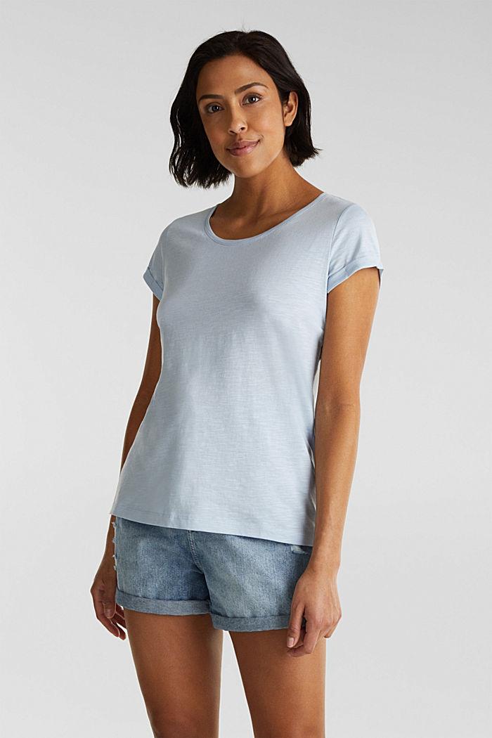 Shirt van slubgaren, 100% katoen, PASTEL BLUE, detail image number 0