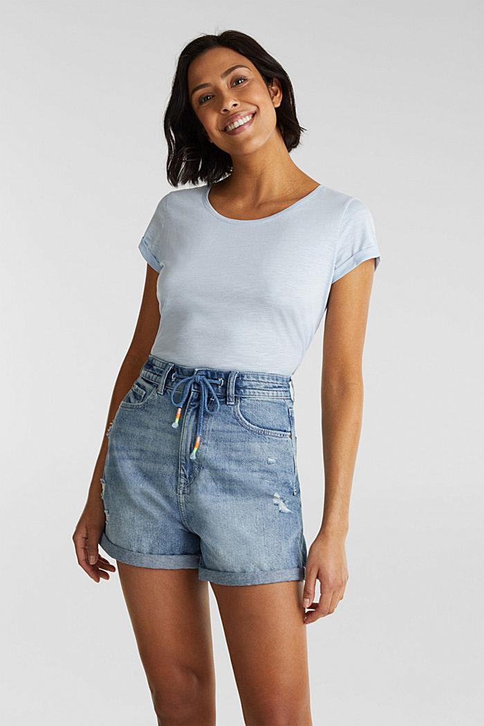 Shirt van slubgaren, 100% katoen, PASTEL BLUE, detail image number 5