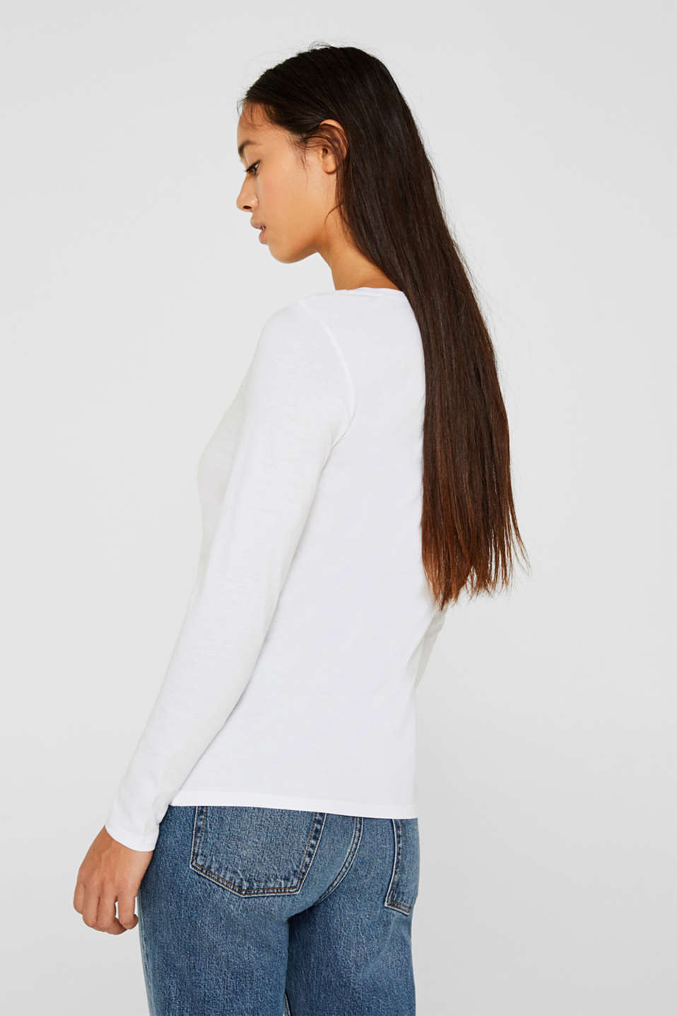 Long sleeve top made of 100% cotton, WHITE, detail image number 3