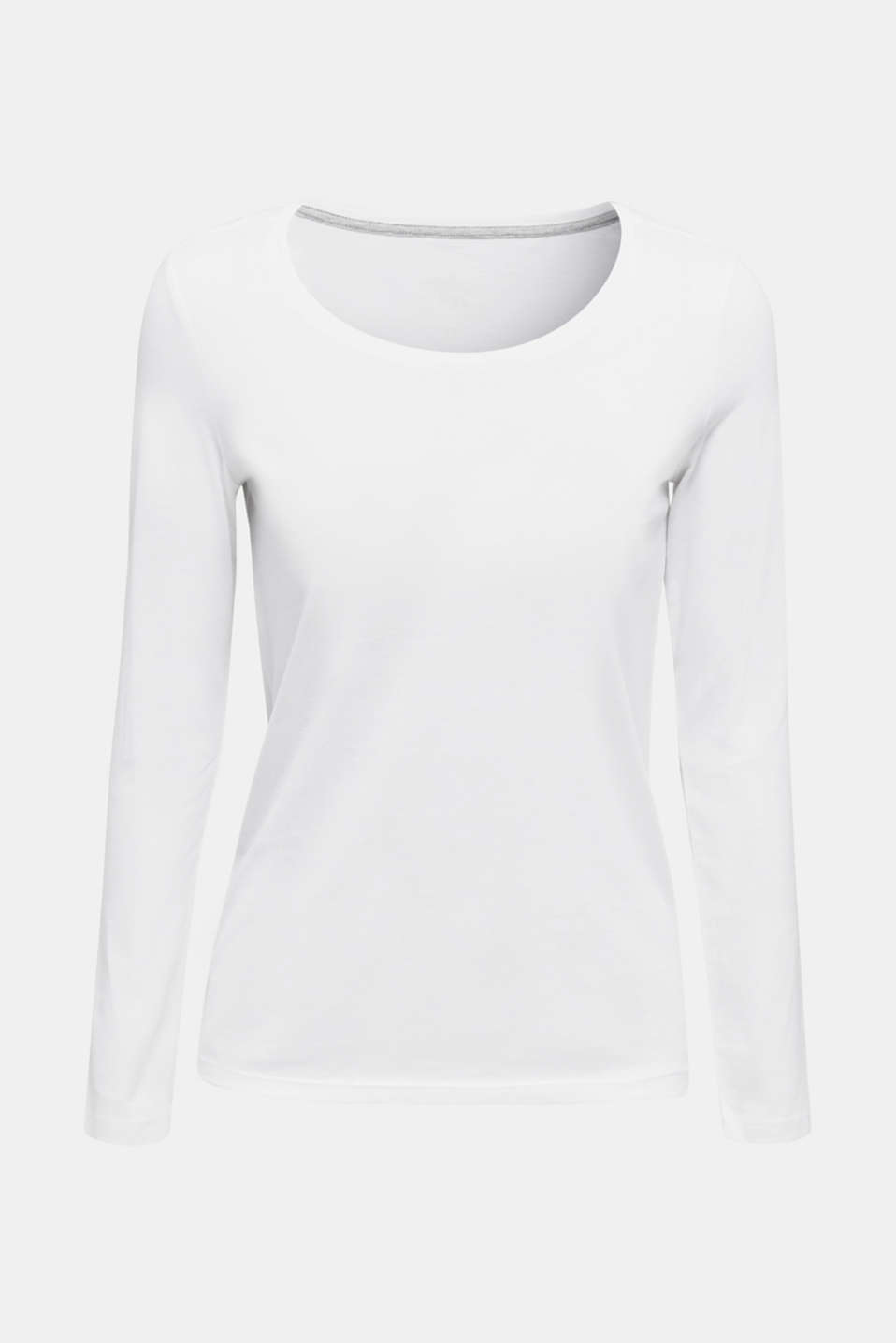 Long sleeve top made of 100% cotton, WHITE, detail image number 6
