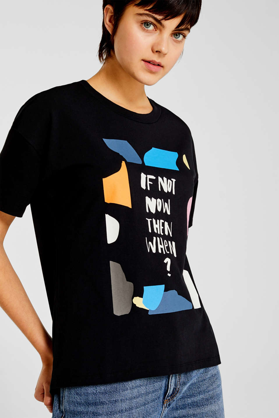 T-shirt with a print, 100% cotton, BLACK, detail image number 0