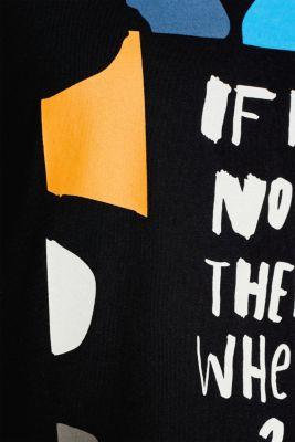 T-shirt with a print, 100% cotton, BLACK, detail