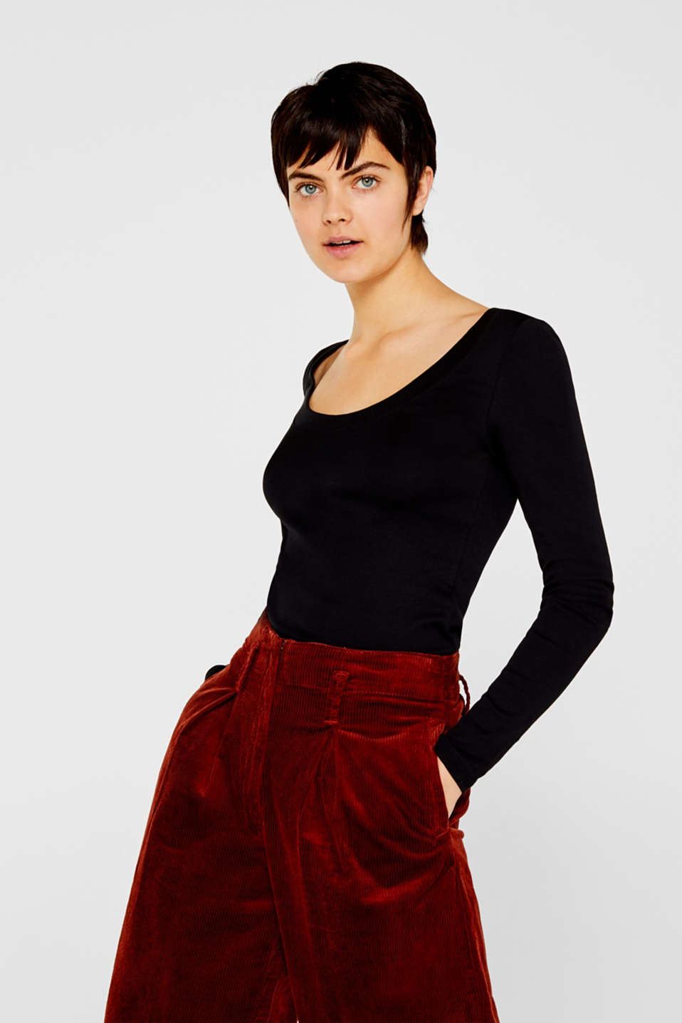 Long sleeve top with a large neckline, 100% cotton, BLACK, detail image number 0